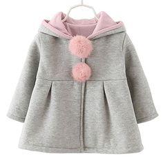 Baby Girls Toddler Kids Winter Big Ears Hoodie Jackets Outerwear Coats(Grey,12-18 Months,L/8)