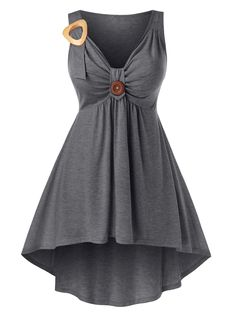 [51% OFF] 2020 Plus Size Front Knot High Low Tank Top In DARK GRAY | DressLily