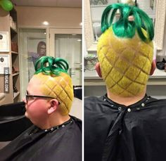 Customer: gimme that spongebob house look barber: Say no more. Dress Hairstyles, Cool Hairstyles, Wacky Hair, Shaved Hair Designs, Dramatic Hair, Crazy Hair Days, Braid Designs, Cool Hair Color, Hair Humor