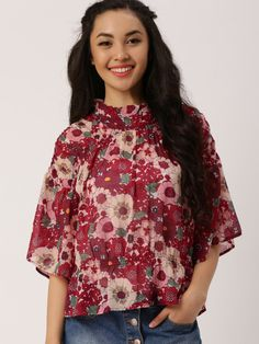 ac67e7f7eb039d Buy DressBerry Women Red & Off White Printed Top - Tops for Women | Myntra