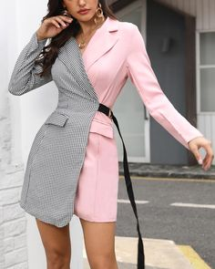 Houndstooth Print Two Tone Blazer Work Dress Shop- Women's Best Online Shopping - Offering Huge Discounts on Dresses, Lingerie , Jumpsuits , Swimwear, Tops and More. Blazer Outfits, Blazer Dress, Work Dresses For Women, Clothes For Women, Casual Work Wear, Mode Abaya, Trend Fashion, Latest Fashion, Style Fashion