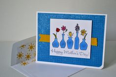 Blue Floral Mother's Day Card//Mother's Day Greeting Card//Stationary by TheRoundedCorner on Etsy