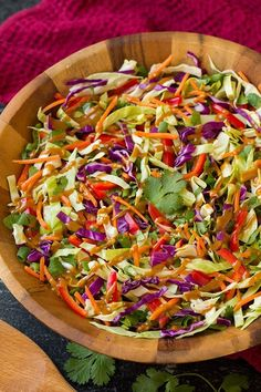 Crisp cabbage salads/slaws are the best! I've always loved coleslaw and this is basically a Thai spin on American coleslaw. Yes, it tastes entirely