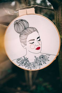 Giselle brings an anarchic view to classic embroidery, revisiting old traditions and transforming it in protest for equality. Portrait Embroidery, Hand Embroidery Art, Embroidery For Beginners, Textile Artists, Punch Needle, Needlework, Stencils, Textiles, Diy Crafts