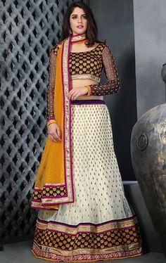 Picture of Divine Off White Color Net Lehenga Choli