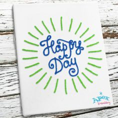 """Happy Day Embroidery Designs. You get 3 sizes: 2"""", 3"""", 4"""""""