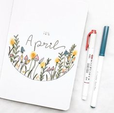 monthly_bujo on Aprils almost over but this cover needs to be posted so niceee! Beautiful cover by by.desi - Use the code MONTHLYBUJO for 10 Bullet Journal School, April Bullet Journal, Bullet Journal Cover Ideas, Bullet Journal Lettering Ideas, Bullet Journal Notebook, Bullet Journal Spread, Bullet Journal Ideas Pages, Bullet Journal Layout, Bullet Journal Inspiration