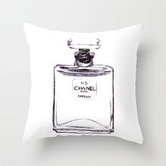 Chanel No 5 Throw Pillow