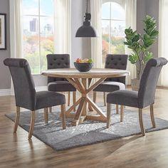Huntington Dark Grey Linen Button Tufted Dining Chair (Set Of 2)
