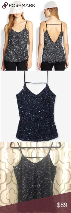 """Parker Blue Sequin Tank Absolutely stunning Parker navy blue tank. Fully covered in sequins. Styled with a deep-V neckline and spaghetti straps. Lined. Fabric: 100% netted rayon. Approx 18.5"""" across bust, 28"""" long. No signs of wear. Worn just once. EUC.   On here to declutter, 🚫 trades. If I want something in your closet badly enough, I'll buy it 😍 Reasonable offers always welcome! Parker Tops Tank Tops"""