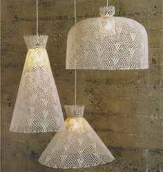 Weird and oddly cool, stiffen lace lamp shades Doily Lamp, Crochet Lampshade, Lace Lamp, Lampshade Designs, Diy Chandelier, Chic Bathrooms, Lamp Shades, Vintage Decor, Lamp Light