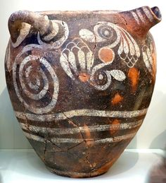 Kamares Ware Wonderful jug with 2 handles and spout. Crete, Phaistos 1900 - 1700 BC Crete, Iraklion, AMI