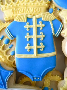 I could see using this for a high school marching band jacket cookies by eliminating the diaper section.  Little Prince Baby Shower Cookies .Oh Sugar Events