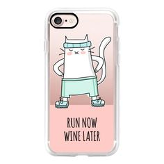 Cat - Run Now Wine Later - Sport Jogging - Coral Pink - iPhone 7 Case,... (54 AUD) ❤ liked on Polyvore featuring accessories, tech accessories, iphone case, iphone cases, pink iphone case, iphone cover case, slim iphone case and cat iphone case