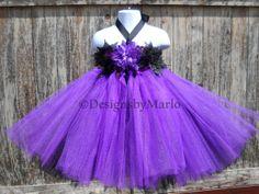 Purple flower girl dress black tutu black flower by Designsbymarlo, $49.50