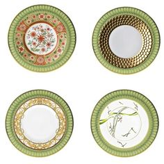 Change the look of your table with the addition of a new salad plate. Shown is the same dinner plate imagined four ways, by mixing and matching patterns and brands you'll never trier of your china.    To create the different looks we used the following: Philippe Deshoulieres Arcades Dinner Plate, Royal Crown Derby Cherry Blossom Dessert Plate, L'Object Aegean Gold Sculpted Dessert Plate, Haviland Amaryllis Dessert Plate, and Versace by Rosenthal Asian Dream Dessert Plate.