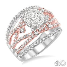 1 5/8 Ctw Diamond Lovebright Ring in 14K White and Pink Gold