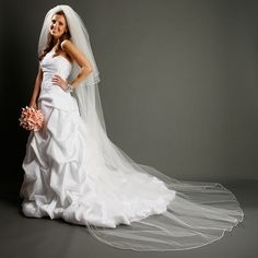 Cathedral Length Bridal Veil with Rounded Satin Corded Edge