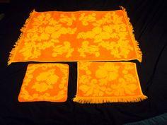 Vintage Bath Hand Towel Wash Cloth CANNON Monticello Orange Yellow Full Set of 3