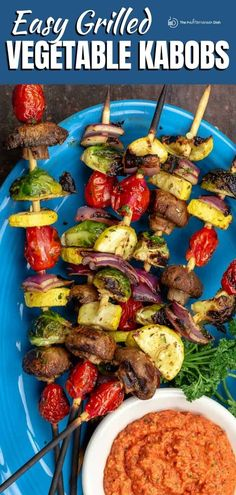 Don't miss these expert tips for how to grill vegetable kabobs perfectly ever time! And you'll love the bold flavors, thanks to the marinade! Oven option included. Grilled Vegetable Skewers, Marinated Vegetables, Veggie Skewers, Grilled Veggies, Kebabs, Mediterranean Appetizers, Mediterranean Dishes, Mediterranean Diet Recipes, Vegetarian Recipes Easy