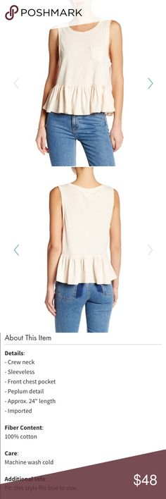 30% off bundles ends tonight! Sleeveless peplum tank. NWT! Biscotti (light pink) color. Photos courtesy of Nordstrom rack. Read last photo for description and details. The shirt has a distressed look so there are small rips in the neck and arm holes. Free People Tops Tank Tops