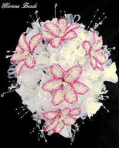 Lily Bridal Bouquet Wedding FRENCH BEADED FLOWERS Lilies Beads Pink Silver