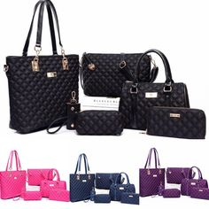 6 Piece Tote Handbag Set❤️ Tote Handbags, Louis Vuitton Damier, Trends, Pattern, Accessories, Fashion, Crocheted Purses, Moda, Bags