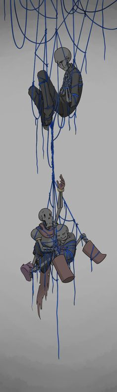 Honestly I just wanted to draw some people tangled up in string, haha. It's been a while, though I decided not to use Edgar for it for once. As such it took everything in me not to make the string ... Undertale, Gaster (c), Sans, Papyrus