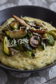 Sage Polenta Bowls with Roasted Brussels Sprouts & Wild Mushrooms