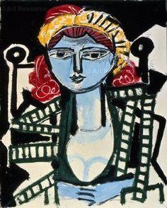 Pablo Picasso, 1954 Portrait de femme à la robe vert jaune