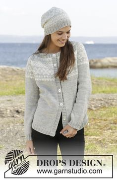 "Silver Dream Cardigan - Knitted DROPS jacket and hat with Norwegian pattern, worked top down in ""Karisma"". - Free pattern by DROPS Design Fair Isle Knitting Patterns, Sweater Knitting Patterns, Diy Crochet And Knitting, Free Knitting, Drops Design, How To Purl Knit, Cardigan Pattern, Work Tops, Knitting Accessories"