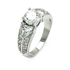 Rhodium Plated Brass Round Center Triangle Sides Clear Cubic Zirconia Bridal Ring