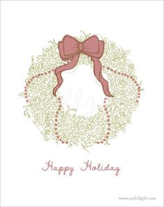 Christmas Wreath, by Charllotte Ashlie. #dollgift #illustration #drawing #art #holiday