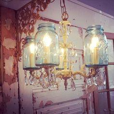 lol nice your fav....mason jars and a CLASSY A$$ chandelier