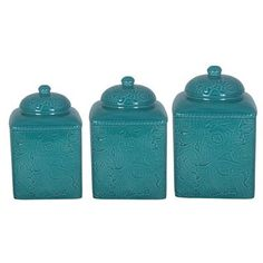 HiEnd Accents Savannah Turquoise Western Canister Set add matching stands for your Southwestern / Western Kitchen Decor.