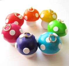 Polymer Clay Mushroom Toadstool Charm You Pick The Color | Luulla by ana9112