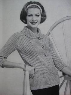 Knit Sweater Pattern - Vintage Pattern, 1960's Ladies' Knitted Sweater Pattern 733-20. $3.00, via Etsy.