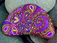 Half Moon Circus / Painted Rock/ Sandi Pike Foundas / Cape Cod. 46 dollars, via Etsy. I love the paisley / bandana vibe, dots, and bright colors!