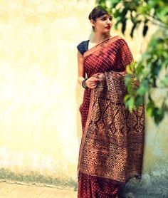 Natural-Dyed Filature Silk Sarees on jaypore.com