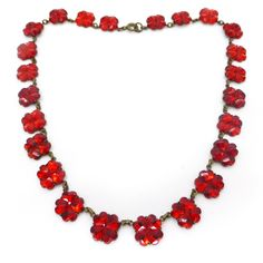 Vintage Czech Art Deco Red Vauxhall Clover Mirror Glass Panel Necklace | Clarice Jewellery | Vintage Costume Jewellery