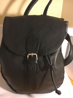 Clava American Black Leather Drawstring Backpack Bag #ClavaAmerican #Backpack