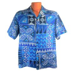 Malihini Hawaiian Shirt Men's Vintage Blue White by RedThreadRetro