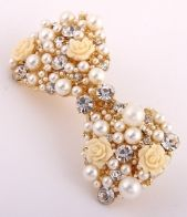 Summer hair accessories 2014, Cream & Gold Gem and Pearl Bow headband, Pearl and Gem Clasp Bow Clip, bow hair slide, now hair fashion accessories, Sophies Jewellery Box