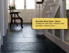 bathroom: black slate tile
