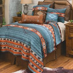 Southwest Bedroom, Quilt Sets Queen, Western Bedding, Forest Decor, Leather Pillow, Rustic Lamps, Western Furniture, Home Decor Online, Western Decor