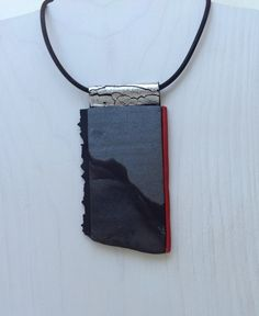 One of a kind silver gray and black polymer pendant by klaraborbas, $280.00
