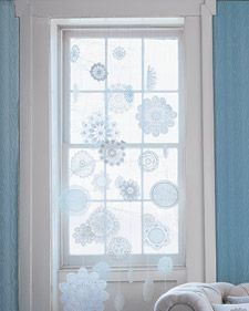 Stiffened doilies for snowflakes in the winter.  Gorgeous! #winter #doily