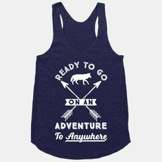 """This summer satisfy your wanderlust and go on adventure and road trips in this adventurous design that says """"Ready To Go On An Adventure To Anywhere"""" perfect for those who love to travel, go on road trips, go hiking, and to go camping."""