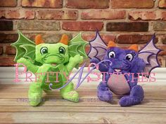 In the hoop stuffed Dragon Boy and Girl and 5X7 and 6X10 hoop