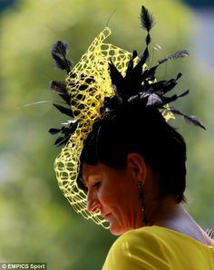 This lady sported a yellow and black design complete with feathers for Royal Ascot.